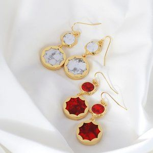 Kate Spade Sunflower Inlaid Pattern Stone Earrings